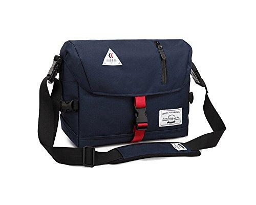 Damen Herren Umhängetasche, Kameratasche, Uni Schultertasche, Freizeit Reise Tasche, Arbeit Messenger Bag im Vintage Look, 30x24x14 cm, Blau