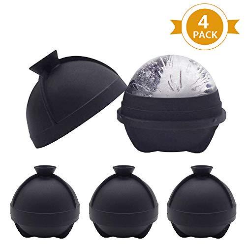 Juego 4 moldes bolas hielo silicona extragrande, sin