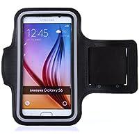 tinxi® Neopren Sport Armband Tasche Armtasche für Samsung Galaxy S5 Samsung Galaxy S6 Samsung Galaxy S6 Edge Schutzhülle Etui Case Hülle Handytasche für Sport Jogging und Fitnessstudio Schwarz