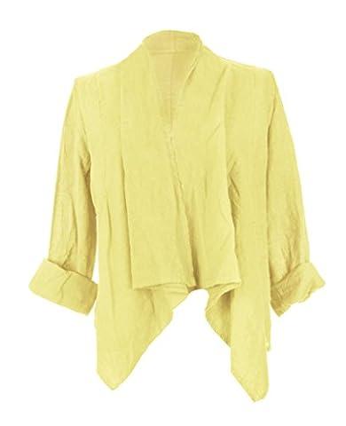 Ladies Womens Italian Lagenlook Quirky Plain Linen Waterfall Crop Jacket Shrug Bolero Cardigan One Size UK 8-14 (One Size, Pale