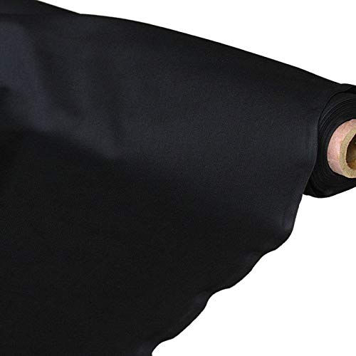 Schwarzer Samt-futter (TOLKO Baumwollstoff Meterware | der Klassiker zum Nähen/Dekorieren aus Oeko-Tex Baumwolle als Kleiderstoff Dekostoff Bezugsstoff | in 25 Farben | weicher Baumwoll-Nesselstoff (Schwarz))