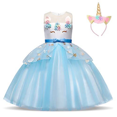 NNJXD Mädchen Einhorn Kleid Blume Applique Party Cosplay Halloween Phantasie Kostüm Headwear Größe (130) 5-6 Jahre Blau