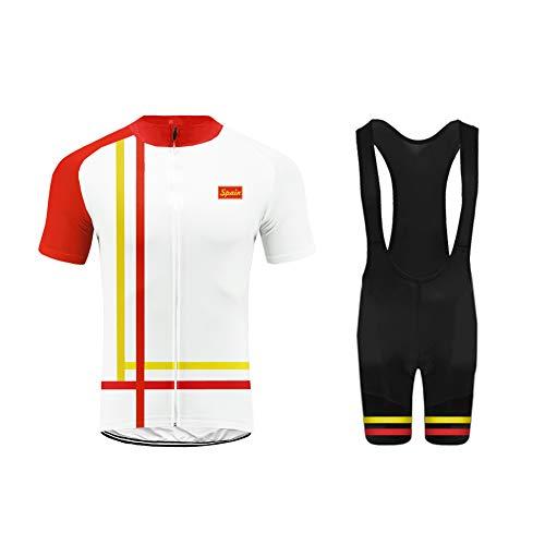 Uglyfrog Deutschland Farbabstimmung der Flagge ES/CH/DE/UK/US Herren Sport Top Trikot Men's Bike-T Full Zip +Bib Kurze Hosen with Gel Pad Anzüge for Rennen