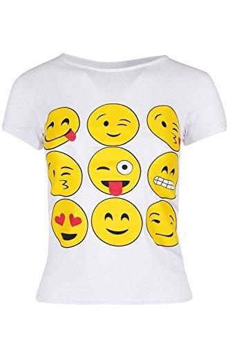 moji Emoticons Smileys T-shirt Kurzärmlig Oberteile Mädchen Alter 7-13 Jahre - Weiß, Age 7/8 years (Weiße Mädchen Emoji Kostüm)