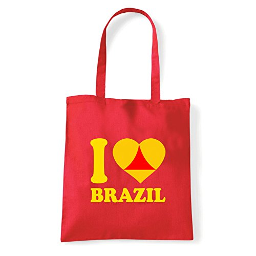 Art T-shirt, Borsa Shoulder I Love Brazil, Shopper, Mare Rosso