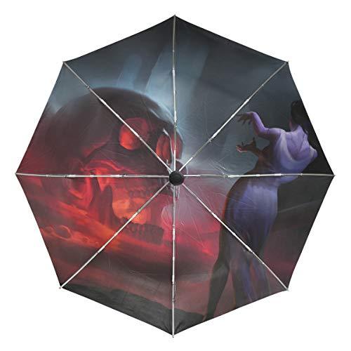 Lenenl Totenkopf-Regenschirm im Gothic-Stil, Winddicht, Reise-Regenschirm, automatisches Öffnen und Schließen, leicht, kompakter UV-Schutz