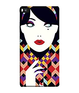 PrintVisa Designer Back Case Cover for Huawei P8 (Computerised Pattern of Beautiful Girl )
