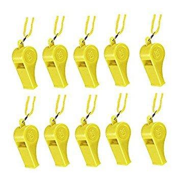 10pcs Plastic Multicolor Whistle Yellow