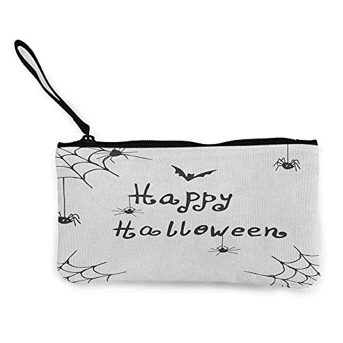 Geldbörse Portemonnaie Geldbeutel,Spider Web Happy Halloween Celebration Monochrome Hand Drawn Style Creepy Doodle Artwork Wallet Coin Purses Clutch W 8.5