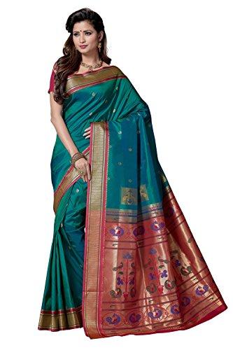 Rani Saahiba Paithani Style Art Silk Saree ( SKR3880_Turquoise - Pink )