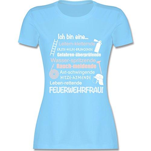 Feuerwehr - Ich bin eine ... Feuerwehrfrau! - tailliertes Premium T-Shirt mit Rundhalsausschnitt für Damen Hellblau