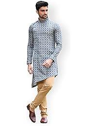 Manyavar Men's silk Kurta Pyjama (SOSK300-306_ Blue_ S)