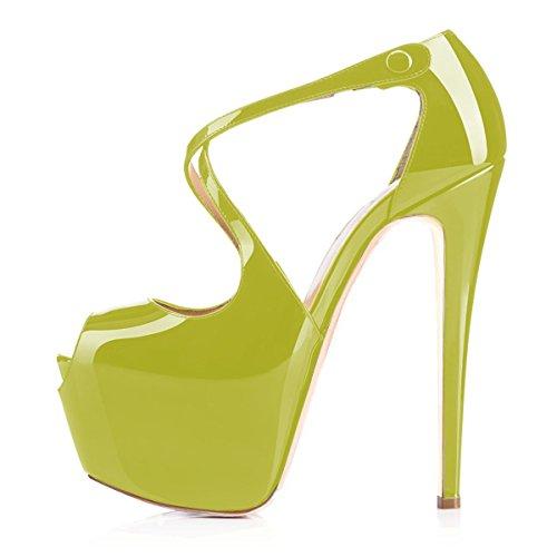 uBeauty Damen Pumps Stilettos High Heels Peep Toe Glitzer Übergröße Sandalen mit Plateau Corss Ankle Strap Schuhe Hell Grün