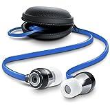 In-Ear Flat Style ALU Kopfhörer / Flat Design Earphone | Neue Modellserie 2016 / widerstandsfähiges Aramid-Flachbandkabel und optimierter Knickschutz | 8mm Schallwandler | Transportmanagement / Hardcover | blau