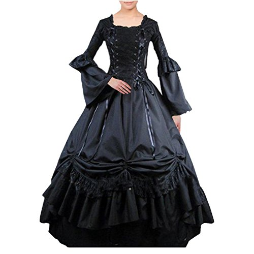 Partiss Women Long Sleeve Lace Bandage Square Collar Gothic Victorian Dress, XXL, Black