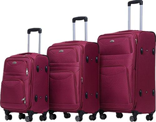 BEIBYE 8009 TSA Schloß Stoff Trolley Reisekoffer Koffer Kofferset Gepäckset (Rot, Set)