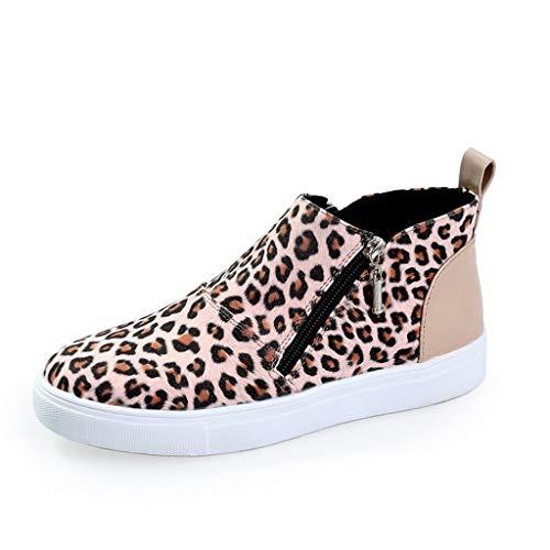 Zilosconcy Damen Gummistiefel Kurz Stiefel Damenmode Knöchel Leopard Camouflage Flacher Reißverschluss Kurze Stiefel Schuhe wasserdichte Espadrilles Boots Wanderschuhe Lederstiefel Overknee Absatz -