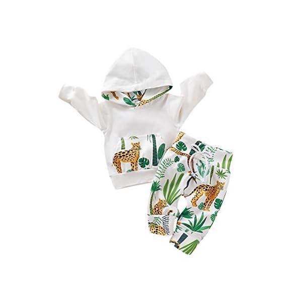 Kfnire [Conjunto de 2 piezas] Sudadera con capucha de leopardo + Pantalones Para Bebé 1