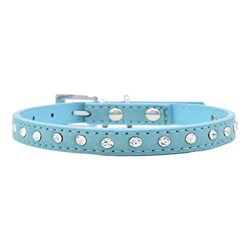 Generisches Hundehalsband Halsbänder aus Kuh-Veloursleder Echtleder mit Strass, Luxus Bling Design, 1.5/2.0cm Breit, 15-55cm Verstellbar, für kleine mittlere Hunde wie Chihuahua und Welpen, Blau XS