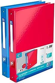 OXFORD Lot de 2 Classeurs Color Life A4XL Dos 40mm 4 Anneaux Ronds Couverture Carte Pelliculée Couleur Bleu et