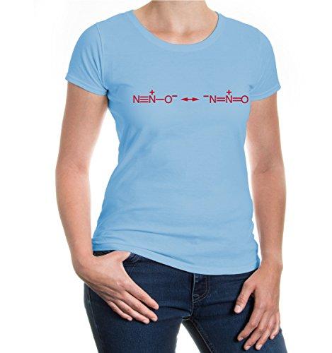 buXsbaum® Girlie T-Shirt-Strukturformel-Distickstoffmonoxid Skyblue-Bordeaux