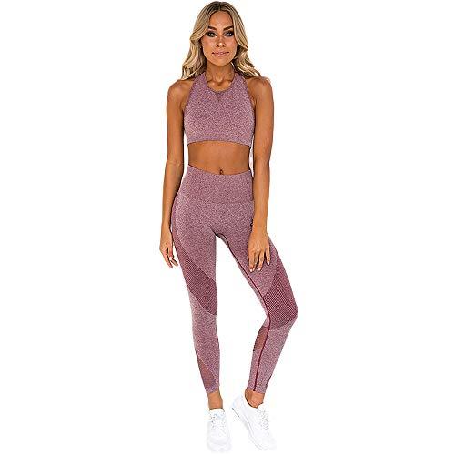 FIYOMET Fitness Anzug 2 Stück Outfits Crop Top Lange Hosen Maschen Leggings Yoga Set Trainingsanzüge Hohe Taille Leggings Anzüge