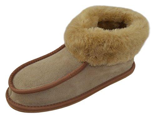 - Pantofole da donna in vera pelle di pecora, con rivestimento in pelle, pelle di pecora e suola rigida, colore: Colori vari Marrone (Camel (Hard Sole))