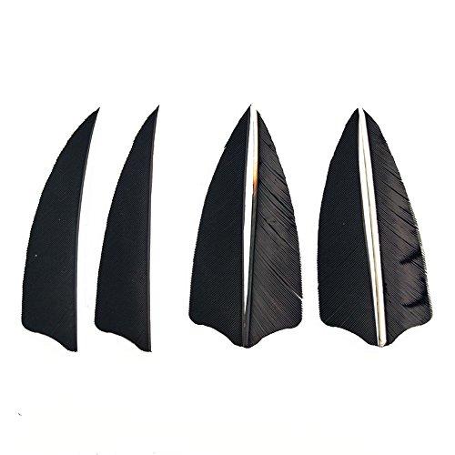 genschießen Naturfedern Pfeilfedern 3 Zoll Feder für Pfeil (schwarz) (Feder Pfeil)