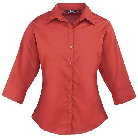 Premier 3/4 Sleeve Poplin Blouse / Plain Work Shirt (12) (Red)