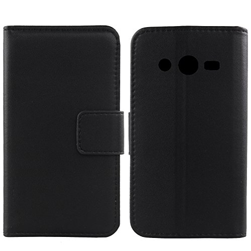 Gukas Design Echt Leder Tasche Für Samsung Galaxy Core LTE SM-G386F Hülle Handy Flip Brieftasche mit Kartenfächer Schutz Protektiv Genuine Premium Luxus Case Cover Etui Skin (Schwarz)