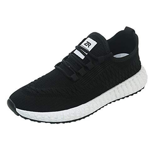 Xmiral scarpe uomo eleganti molto comode Uomo Scarpe da Corsa Sport Classica Stringata Sneaker Palestra Running Sneaker 44 Nero