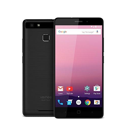 Vernee Thor E 4G LTE Smartphone Ohne Vertrag,5 Zoll HD-Bildschirm,1.3 GHz Octa Core,3 GB RAM + 16 GB ROM,Android 7.0,5020mAh Große Akku,Schnellladung,Handy mit Fingerabdruck Sensor,5MP + 13MP Kameras,Dual-SIM (Schwarz)