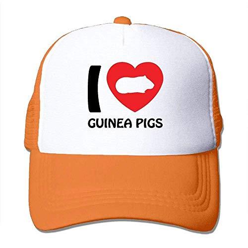 Hoswee Unisex Kappe/Baseballkappe, Men&Women Mesh Back Core Baseball Cap I Heart Guinea Pigs Air Mesh Polyester Cap -