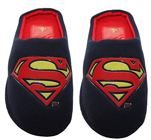 Mens Comic Superman Batman Grinch Superhero Fleece Slip On Novelty Character Christmas Slippers Mules UK Sizes 7-12
