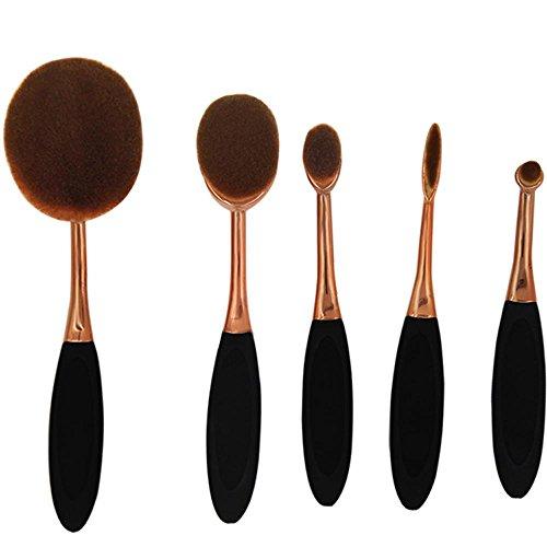 SHUAZIX 5Pc / Set Pro Gold Schwarz Oval Frauen Gesicht Puder Foundation Eye Shadow Blusher Zahnbürste Form Kurve Pinsel Make-up-Tools