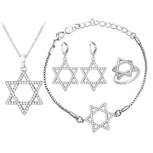 hmuck Davidstern Halskette Armband Ring Und Ohrringe Gold Farbe Israel Hochzeit Brautschmuck Sets ()