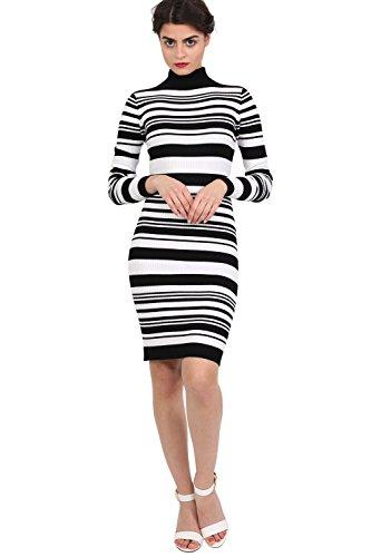 PILOT® polo cou bande rib maigre tricot mini robe Noir
