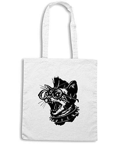 T-Shirtshock - Borsa Shopping FUN0028 02 09 2014 Punk Cat T SHIRT det Bianco