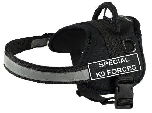 Dean & Tyler DT Works Hundegeschirr, spezielle K9-Kräfte, Größe M, für einen Umfang von 71 cm bis 96 cm, Schwarz/Weiß -