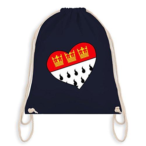 Karneval & Fasching - Köln Wappen Herz - Unisize - Navy Blau - WM110 - Turnbeutel I Gym Bag (Harlekin-baumwolle)