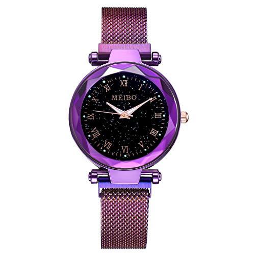 Damen Uhr,Zimuuy Mode Elegant Sternenhimmel Flachglas Quarzuhr Analog Armbanduhren Schmuck (Lila)