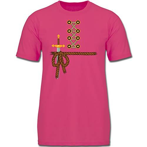 Karneval & Fasching Kinder - Ritter Kostüm Fasching - 164 (14-15 Jahre) - Fuchsia - F130K - Jungen Kinder T-Shirt