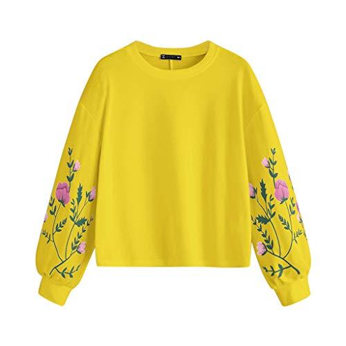 Damen Tops Für Damen Somerl Frauen O-Neck Blumendruck Ärmel Pullover Tops for Women(Gelb,L)