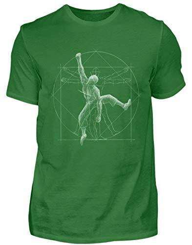 Bouldernder Kletternder vitruvianischer Mensch - für Boulder und Kletter-Felsen Fans - Herren Shirt -M-Kelly Green