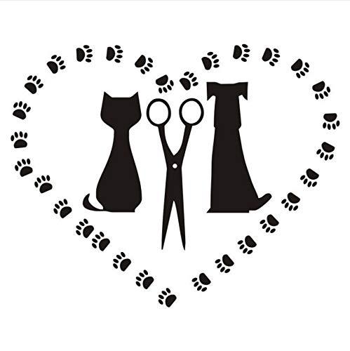 (Wuyyii 42X54 Cm Haustier Hund Und Katze Silhouette Decals Salon Salon Wandaufkleber Für Pet Shop Abnehmbare Herz Wandtattoos Fenster Dekoration)