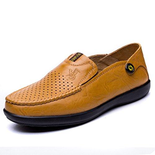 Marrón Oxford Zapatos Mocasín De Zapato City Sin Poca De Negocio Derby Ocio Los on Luz De Slip Piel Cordones Mocasines Del Man Vaca Barco XBa0OOn