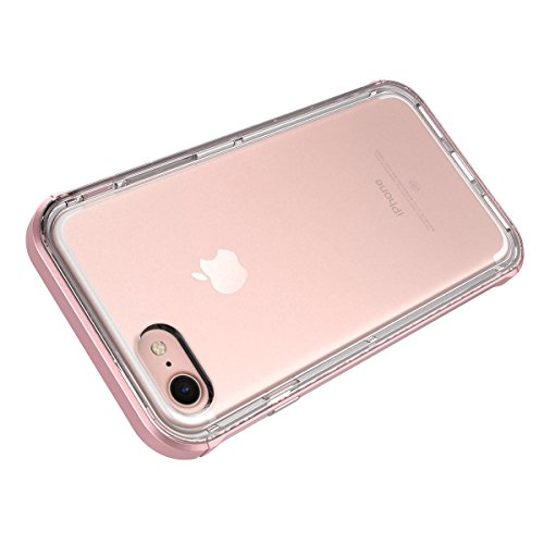 GrandEver iPhone 7 Plus Hülle Dual Layer Hybrid Rahmen mit Weiche TPU Silikon Bumper + Hart PC Zurück Kombination Transparent Schutzhülle Case Cover Scratch-Resistant Tasche für Apple iPhone 7 Plus (5 Rosa