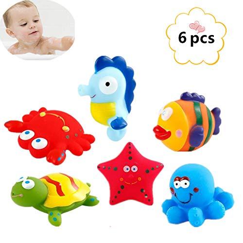 DQTYE 6 Stücke Bad Spielzeug Schwimm Meer Tier, Baby Weiche Spritzen Badespielzeug Badewanne Cartoon PU Gummi Wasser Spiel Lernen Pädagogisches Spielzeug Für Kinder