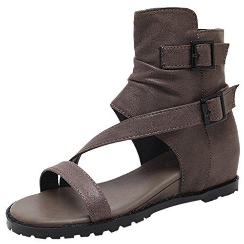Oasap Women's Solid Open Toe Buckle Strap Flat Heels Gladiator Sndals Kaki