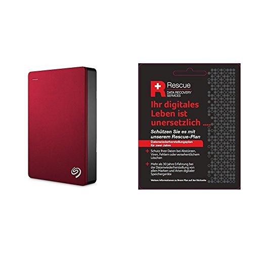 Seagate STDR4000902 Externe tragbare Festplatte (inkl. Backup-Software, USB 3,0, PC, MAC und PS4) + STZZ794 Produktkarte mit Code zur Registrierung, Backup Plus 4 TB, rot